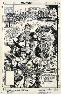 Sensational She Hulk 37 Cover John Byrne Wolverine Spider-man Punisher, in Adam Perlman's My first CAF Gallery Comic Art Gallery Room Punisher Comics, Comic Covers, Comic Book Pages, Comic Art Fans, Comic Frame, Art, Art Pages