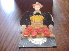 ButtonArtMuseum.com - Vintage Antique Maid Card of Cup and Saucer Buttons