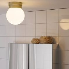 The soft, round shapes and use of metal and glass create a timeless look that resembles lamps of the past. It is approved for bathroom use and is also a good solution for hallways. Brass Ceiling Light, Flush Ceiling Lights, Ceiling Lamp, Lamp Light, Light Bulb, Led Track Lighting, Wall Sconce Lighting, Sconces, Ikea Canada