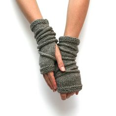 Knitting Pattern – Wrap Gauntlets – Fingerless Gloves Pattern – Knit Gloves – Apocalypse Knitting – Open Mittens – Arm Warmers Pattern – Knitting For Beginners Wool Gloves, Fingerless Gloves Knitted, Knit Mittens, Mens Gloves, Wrist Warmers, Hand Warmers, Apocalypse, Fall Knitting, Simple Knitting