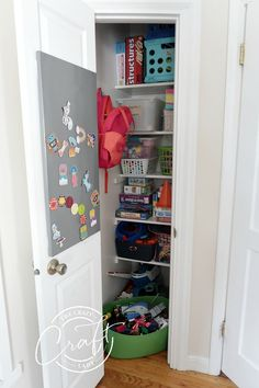 An organized playroom closet for kids toys and games Organized Playroom, Playroom Closet, Entry Closet, Laundry Room Organization, Home Office Organization, Organizing Your Home, Wire Shelving, Wood Shelves, Craft Rooms