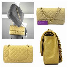 CHANEL Medium double flap beige colour lambskin with gold hardware good conditions ref.code-(COLT-4)