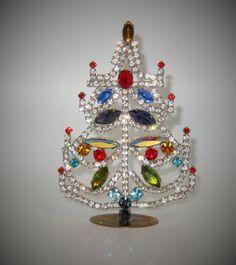 Beautiful Rhinestone Vintage Table-Top Christmas Tree