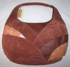 Lucky-Brand-Gamuza-Patchwork-De-Cuero-Marron-Bolsa-Bolso-Nuevo