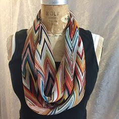 Infinity scarf,Chevron Stripe, Large Zig Zag Stripe Pattern, Blue, Black, Taupe,Rust,Orange. Semi Sheer Polyester Chiffon. Handmade in USA.
