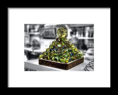 Photography Framed Print featuring the photograph Pyramid Of Old Marbles by Kaye Menner