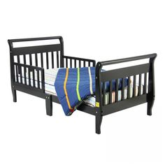 Dream On Me Sleigh Toddler Bed in Black - 642K