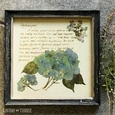 Beautiful blue hydrangeas painted on parchment like paper displayed in a tattered shabby wood frame has an old world romantic cottage style. Measures 10x10.