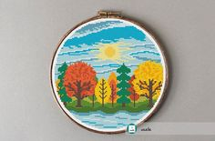 Autumn landscape cross stitch pattern, modern cross stitch pattern, PDF, instant download