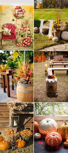 autumn and fall wedding reception and ceremony decor ideas
