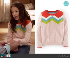 Lily's chevron striped sweater on Modern Family.  Outfit Details: https://wornontv.net/55262/ #ModernFamily
