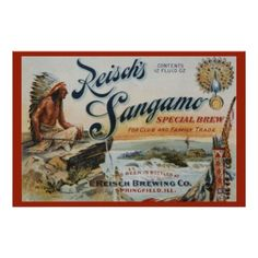 Reisch's Sangamo Beer 36 x 24 Reissue Poster available at www.zazzle.com/stevebrownleeart