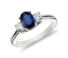 Sapphire and Diamond Ring in 18k White Gold (7x5mm)