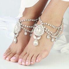 1 Pair Beautiful Silver Jewelled Anklets for Beach Wedding, Boho Brides, Bohemian barefoot sandals - 'Enchanted' on Etsy, $68.56
