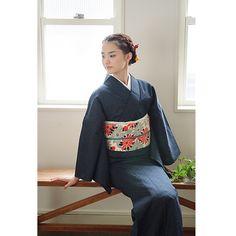 2014 cotton kimono 木綿の着物 13:紺七宝 - 京都きもの町 -