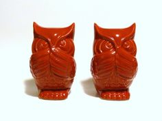 Two Vintage Red Ceramic Owl Statues  decor by NewfoundFinds, $32.00