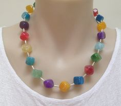 Multi-Color Agate Necklace Cube Stones & Karen Hill Tribe Sterling Silver hammered tube spacers and clasp