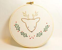 Christmas wall art deer with holly hand embroidered home decor holidays winter seasonal