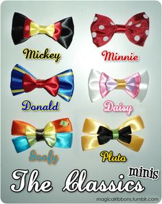 disney inspired ribbons. this girl has such talent! so many characters past these, and they're affordable, too!