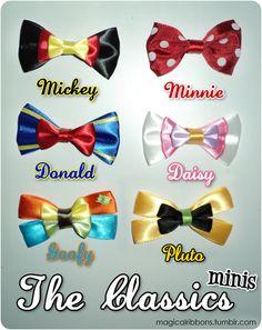 Classic Disney minis :) I would totally wear these! Disney Hair Bows, Disney Outfits, Disney Shirts, Disney Diy, Disney Crafts, Disney Mickey, Ribbon Crafts, Ribbon Bows, Ribbons