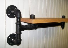 b>Red Oak Shelves with iron pipe mounts and base.</b><br><br>  These shelves makes a nice addition to any room with their industrial (yet clean)