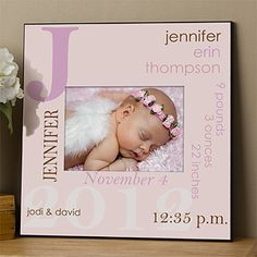 This is the most beautiful Baby Gift! It's a picture frame that you can personalize with the baby's name, birth date, weight, length, birth time and parents' names in 1 of 6 different color combos for just $32.95! It's a beautiful way to display the cute newborn photos and for a way to remember all their birth info! #Baby #Frame #BabyShower #BabyGift #Girl #PMall.com
