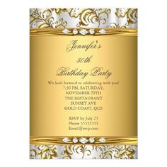 Elegant Gold Damask White Silver Diamond Birthday Invitation