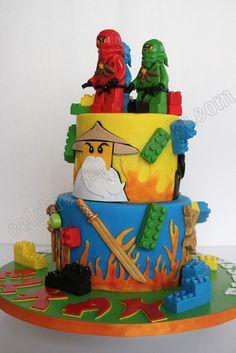 Celebrate with Cake! Ninjago Cakes, Ninjago Party, Lego Ninjago, Bolo Lego, Lego Cake, Fondant Cakes, Cupcake Cakes, Ninja Birthday Parties, Birthday Ideas