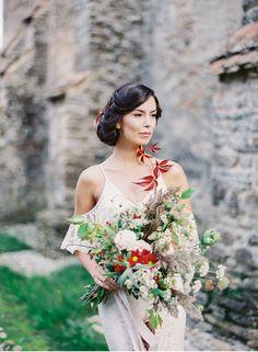 Wild and nature inspired bridal look   Wildflower bridal bouquet   Low bun   Fine Art Destination Wedding Photographer Madalina Sheldon