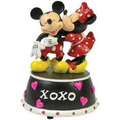 45 Mickey and Minnie Mouse Kissing and Hugging Figurine with XOXO *** You can find more details by visiting the image link.