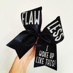Flawless I Woke Up Like This black and silver spandex Cheer Bow Cute Cheer Bows, Cheer Mom, Big Bows, Cheer Stuff, School Cheerleading, Cheerleading Quotes, Softball Bows, Bow Board, Cheer Hair