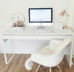 Eames Chair with Arms in White Replica - Crated Furniture Home Office Design, Home Office Decor, Office Desk, Office Designs, Office Style, Desk Decor Teen, Teen Desk, Ikea Office, Office Setup