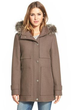 Free shipping and returns on Kenneth Cole New York Faux Fur Trim Wool Blend Duffle Coat at Nordstrom.com. Large pockets mirror appliquéd patches at the chest of a wool-blend duffle coat topped with a stand collar.  A faux-fur trimmed hood detaches for styling versatility.