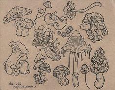 Mushroom Drawing, Mushroom Art, Art Drawings Sketches, Cool Drawings, Indie Drawings, Tattoo Sketches, Tattoo Drawings, Arte Sketchbook, Sketchbook Ideas