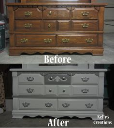 Fancy dresser in swan white and charcoal gray refinished by Kelly's Creations.  http://www.facebook.com/pages/Kellys-Creations/524028237619793