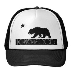 Kirkwood California black white flag bear hat