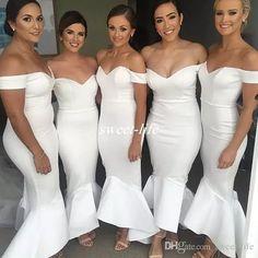 9b3b1c5480d Long Bridesmaid Dresses 2017 Hi Lo Mermaid with Short Sleeve Sweetheart  Stretch Satin White Bridesmaid Dress
