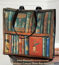 """The Bodleian Library. Cheerful book bag decorated with brightly illustrated book covers from the Library's collection of classic 19th and 20th century children's books. Cotton with gusset, PVC lined."" via MuseumSelection Available at link."