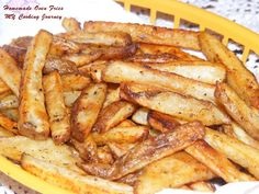 Homemade Oven Fries (herbed) - Uncategorized Dec 2012 I love French fries. Well, who does not like French fries, but with the amount of oil and grease that are in the fries, lot of us are shying Homemade Fries In Oven, Homemade French Fries, Fries In The Oven, Oven Potato Chips, Potatoes In Oven, Oven Baked French Fries, French Fries Recipe, Making French Fries, Oven Cooking