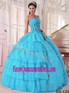 Cheap Ball Gown Sweetheart Paillette Sweet Sixteen Dresses in Organza