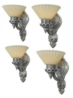 Set of Four American Art Deco Sconces in Pewter | Modernism
