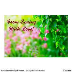 Birch leaves tulip flowers customizable yard sign