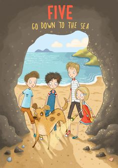 Five Go Down to the Sea - A re-imagining of the cover of the classic children's book by Enid Blyton. Illustrated by Emma Allen. Emma Allen, The Famous Five, Enid Blyton, Children's Book Illustration, Childrens Books, Illustrators, Character Design, Sea, Kids