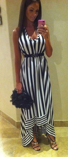 striped maxi dress for a wedding