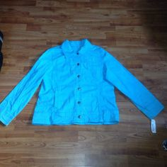 This a blue jacket from Chico's Platinum. It is a size 3 and is made of a light weight material. It is new with tags. It has 6 buttons down the front, and 3 buttons on each sleeve. If you have any questions feel free to ask!
