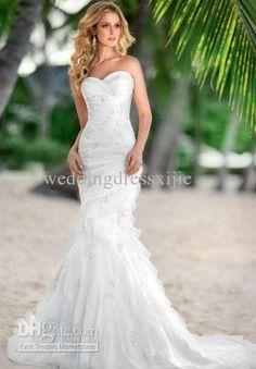 Mermaid / Trumpet Wedding Dresses Bridal Gowns Organza Sweetheart Chapel Train Appliqued Bead Cheap