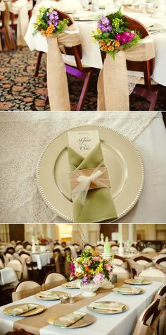 love the chair decor for the wedding party table