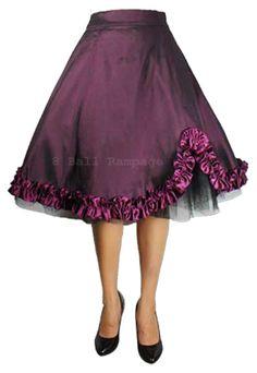 Satin Ruffled 50s Skirt - Frilled Rockabilly Pin Up Ret...