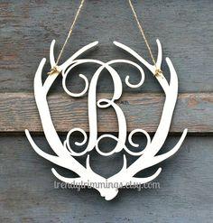 Deer Antler Monogram Holiday Trimmings™ Wooden by TrendyTrimmings