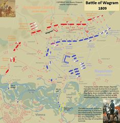 Napoleon's great victory at Wagram in 1809. Detailed map.
